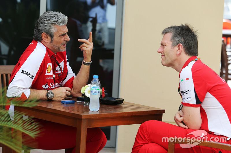 Maurizio Arrivabene, Ferrari-Teamchef, mit James Allison, Ferrari, Technischer Direktor Chassis