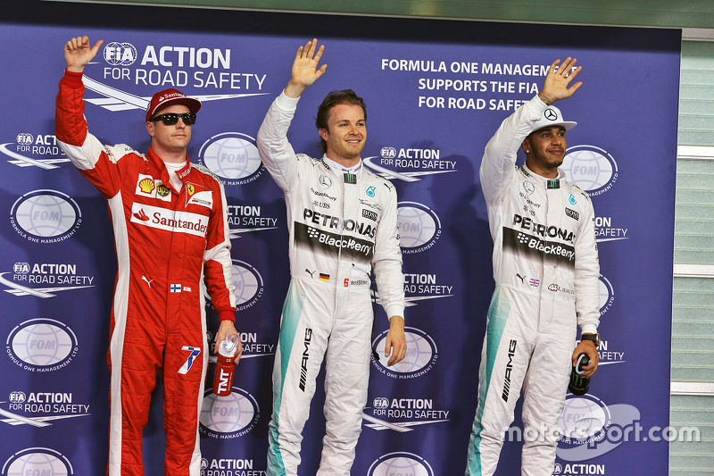 3. Kimi Räikkönen, Ferrari; 1. Nico Rosberg, Mercedes AMG F1 Team; 2. Lewis Hamilton, Mercedes AMG F1 Team