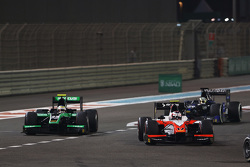 Rene Binder, MP Motorsport leads Oliver Rowland, Status Grand Prix and Nathanael Berthon, Team Lazar