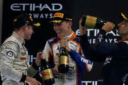 Race 1 Podium: Winner Stoffel Vandoorne, ART Grand Prix and second place Raffaele Marciello, Trident and third place Mitch Evans, RUSSIAN TIME