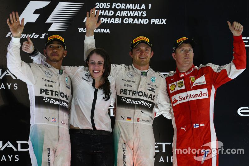 2015: 1. Nico Rosberg, 2. Lewis Hamilton, 3. Kimi Raikkonen