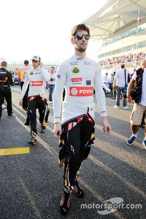 Romain Grosjean, Lotus F1 Team sulla griglia di partenza