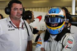 Eric Boullier and Fernando Alonso, McLaren MP4-30