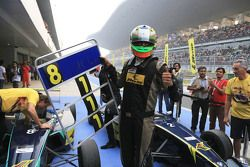 Winner Vishnu Prasad and three time JK Racing champion