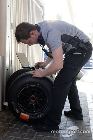 An engineer with Pirelli tires