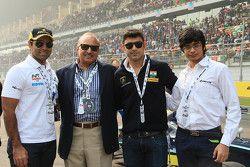 Karun Chandhok, V. K. Misra, JK Tyres Technical Director, Armaan Ebrahim and Arjun Maini