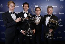 Brendon Hartley, Mark Webber, Timo Bernhard, Porsche Team mit Fritz Enzinger, Porsche Team LMP1 Dire