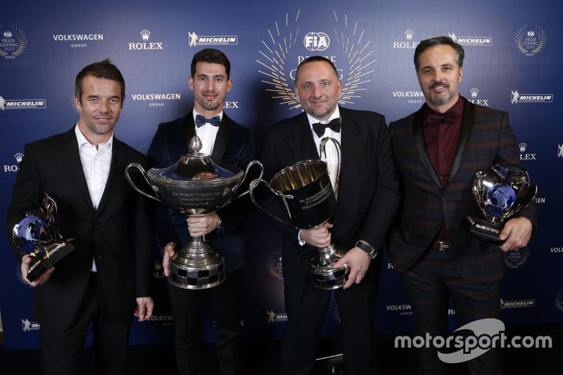 The Citroen team receives its awards for dominating the WTCC, with drivers' champion Jose Maria Lopez joined by teammates Sebastien Loeb and Yvan Muller as well as team boss Yves Matton.