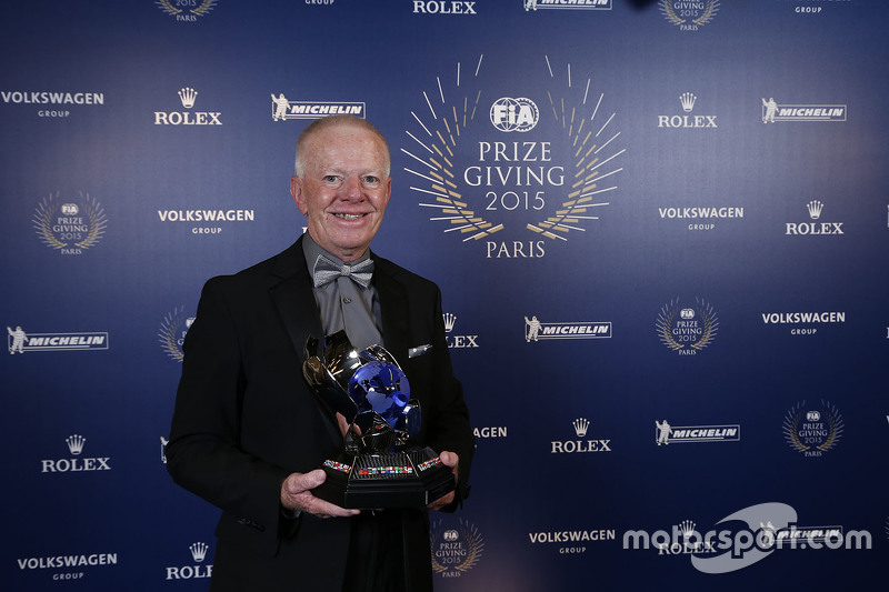 Adrian Fawdington wins the FIA Outstanding Official of the Year award.