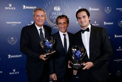 Alain Prost, Jean-Paul Driot and Nelson Piquet Jr.
