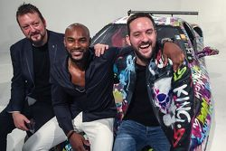 Ben Levy with Tyson Beckford and Steve Hawthorne pose with the Ferrari F430