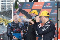 2015 V8 Supercars Champion Mark Winterbottom, Prodrive Racing Australia Ford celebrates on the podiu