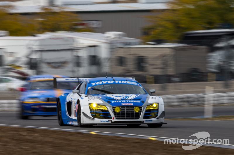 #45 Flying Lizard Motorsports, Audi R8 LMS: Darren Law, Tomonobu Fujii, Johannes van Overbeek, Guy Cosmo