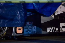 The crashed #8 Ryno Racing Team Ginetta LMP4