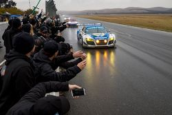 #45 Flying Lizard Motorsports Audi R8 LMS: Darren Law, Tomonobu Fujii, Johannes van Overbeek, Guy Co