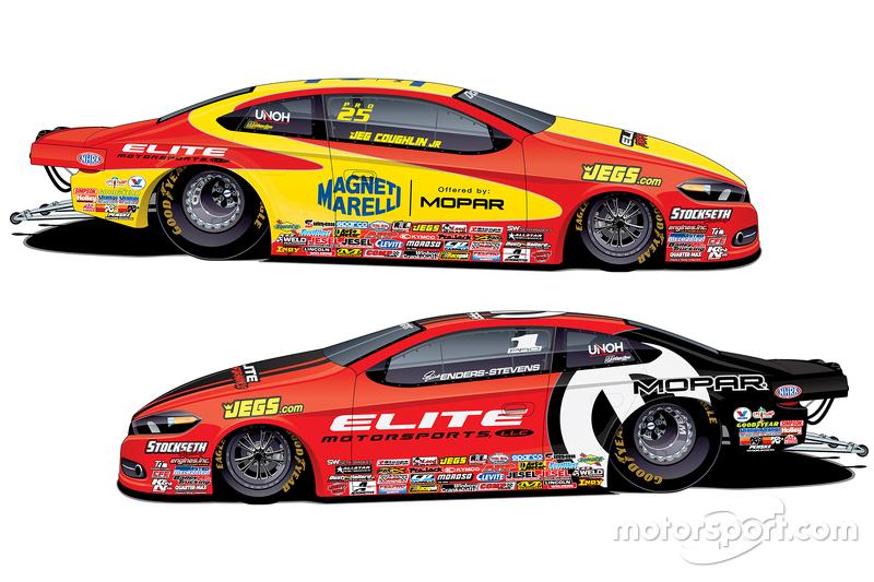 Elite Motorsports' MOPAR Dodge Dart Pro Stocks of Erica Enders-Stevens and Jeg Coughlin Jr.