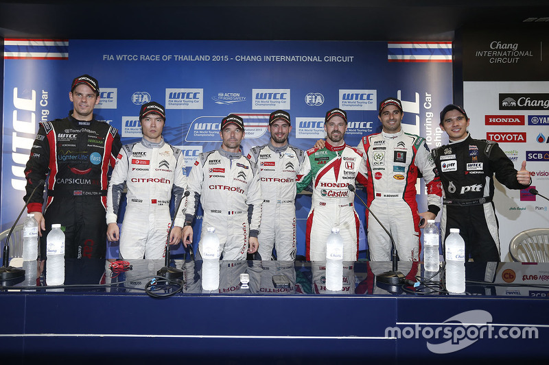 Press conference: Tom Chilton, ROAL Motorsport, Ma Qing Hua, Citroën World Touring Car team, Jose Maria Lopez, Citroën World Touring Car team, Tiago Monteiro, Honda Racing Team JAS and Mehdi Bennani, Sébastien Loeb Racing