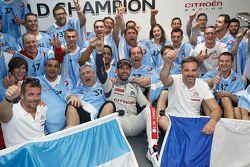 2015 WTCC world champion Jose Maria Lopez, Citroën World Touring Car team celebrates with his team