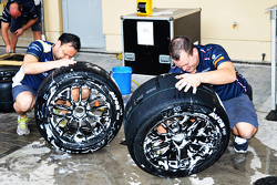 Mechanics prepare Avon tires
