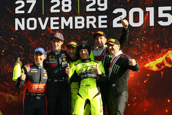Podium: winners Valentino Rossi and Carlo Cassina, Ford Fiesta, second place Thierry Neuville and Julien Vial, Hyundai i20, third place Roberto Brivio and Davide Brivio, Ford Fiesta