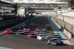 Start: #2 Black Falcon Mercedes SLS AMG: Yelmer Buurman, Hubert Haupt, Abdulaziz Al Faisal leads