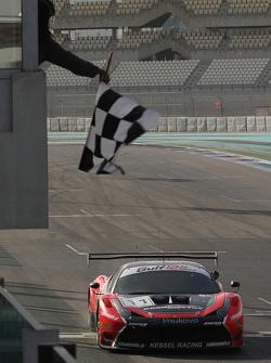 #11 Kessel Racing Ferrari 458 Italia: Davide Rigon, Andrea Piccini, Michael Broniszewski takes the checkered flag in part 1 of the race, leading