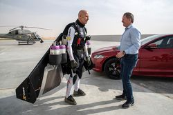 Martin Brundle and the Jaguar XJR against Jet Man Yves Rossy