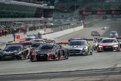 Start: #17 Audi Sport Team WRT Audi R8 LMS: Stuart Leonard, Stéphane Ortelli, Laurens Vanthoor leads