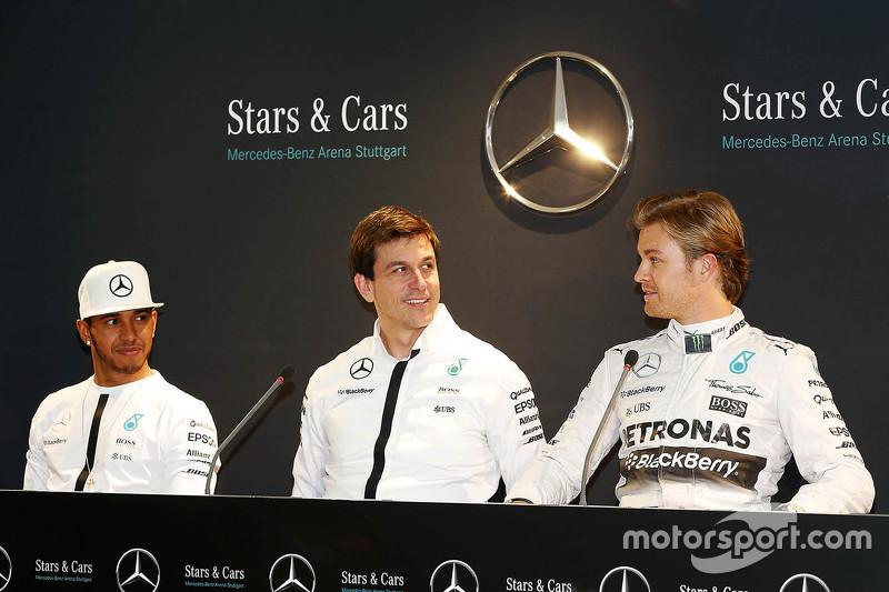 Lewis Hamilton, Nico Rosberg e Toto Wolff