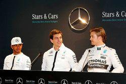 Lewis Hamilton, Nico Rosberg en Toto Wolff, Mercedes AMG F1