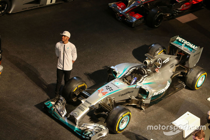 Lewis Hamilton with his title-winning Mercedes