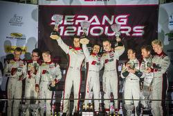 Podium: race winners Stuart Leonard, Stéphane Ortelli, Laurens Vanthoor, second place Enzo Ide, Christopher Haase, Christopher Mies, third place Niki Mayr-Melnhof, Nicki Thiim, Markus Winkelhock