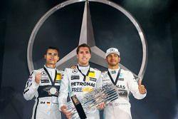 Winner Daniel Juncadella, second place Pascal Wehrlein, third place Lewis Hamilton, Mercedes AMG F2
