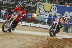 Brad Baker y Marc Marquez, Repsol Honda Team, al Superprestigio 2015