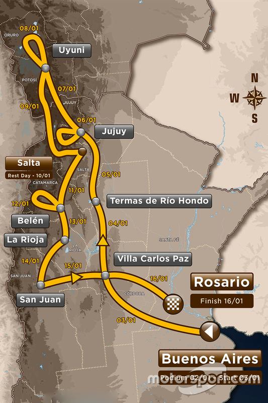 Die Route der Rallye Dakar 2016