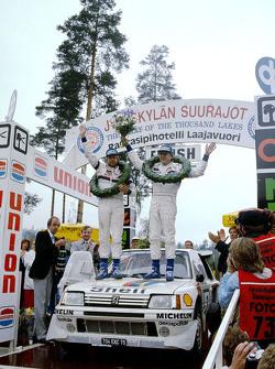 Winners Timo Salonen and Seppo Harjanne, Peugeot 205 T17
