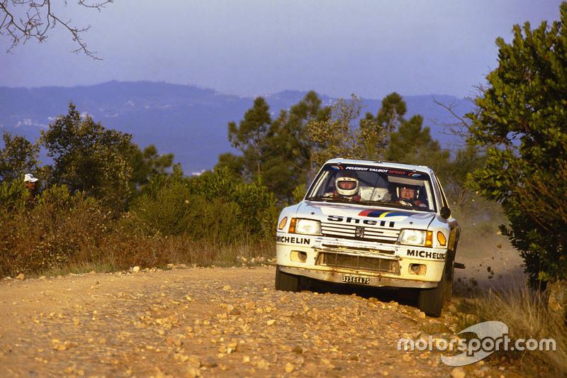Timo Salonen, con un Peugeot 205 T16 en el Rally de Portugal 1985