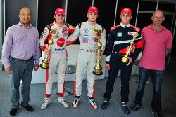 Winner Alessio Picariello, second place Pietro Fittipaldi, third place Nikita Troitskiy and Adrian N