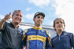 Jean-Paul Driot, winnaar Sébastien Buemi en Alain Prost, Renault e.Dams