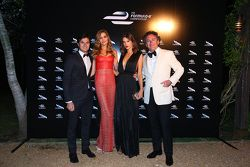 Alejandro Agag, CEO Formula E with model Alessandra Ambrosio and Nelson Piquet Jr.