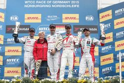 Podium: race winner Yvan Muller, Citroën C-Elysee WTCC, Citroën World Touring Car team, second place Jose Maria Lopez, Citroën C-Elysee WTCC, Citroën World Touring Car team, third place Tiago Monteiro, Honda Civic WTCC, Honda Racing Team JAS and Mehdi Bennani, Citroën C-Elysee WTCC, Sébastien Loeb Racing