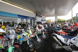 The bikes and quads convoy stops at a petrol station