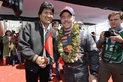 Sébastien Loeb, Peugeot Sport with the president of Bolivia, Evo Morales