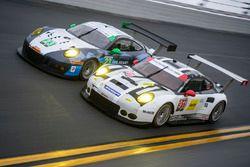 #23 Team Seattle/Alex Job Racing Porsche GT3 R : Ian James, Mario Farnbacher, Alex Riberas, Wolf Henzler, #911 Porsche Team North America Porsche 911 RSR : Nick Tandy, Patrick Pilet, Kevin Estre