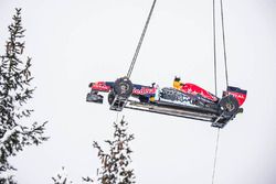 Red Bull RB7 arrives by helicopter