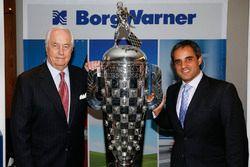 2015 Indy 500 winning owner Roger Penske and Winning Driver Juan Pablo Montoya with the Borg-Warner