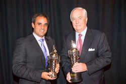 Juan Pablo Montoya and Roger Penske with Baby Borg trophies