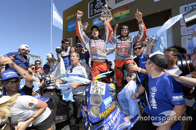 Quad category winner Marcos Patronelli and brother Alejandro Patronelli celebrate