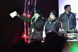 Sarah Fisher on stage at Indianapolis New Year's Eve event