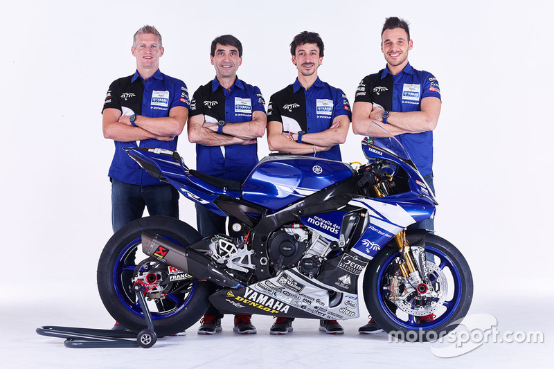 David Checa, Louis Rossi, Niccolo Canepa mit Christophe Guyot, GMT94 Teammanager